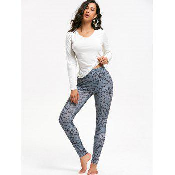 Spider Web Print Halloween Leggings - GRAY L