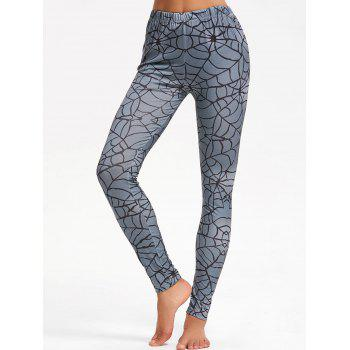 Spider Web Print Halloween Leggings - GRAY XL