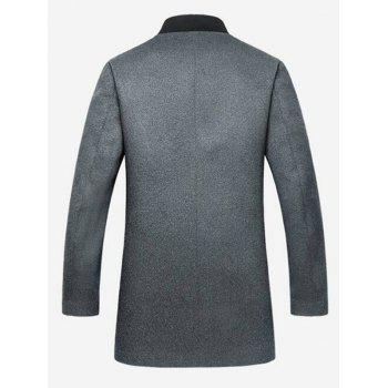 Stand Collar Zipper Up Wool Blend Coat - GRAY GRAY