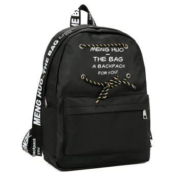 Letter Print String Backpack - Noir