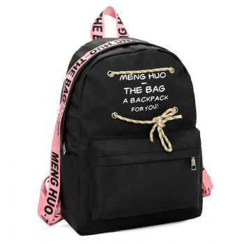 Letter Print String Backpack -  PINK