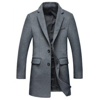 Covered Button Flap Pocket Wool Blend Coat - GRAY GRAY