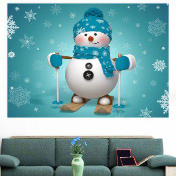 Skiing Snowman Pattern Multifunction Wall Art Sticker - BLUE 1PC:39*39 INCH( NO FRAME )