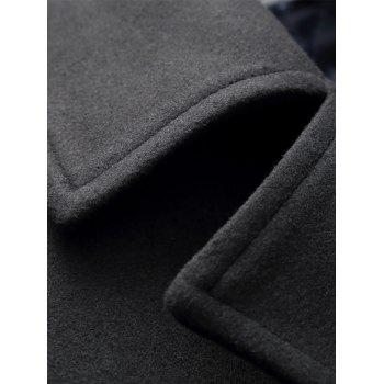Double Breasted Lapel Collar Pea Coat - BLACK L