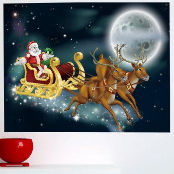 Moonlight Santa Claus Carriage Pattern Removable Wall Sticker - 1PC:24*35 INCH( NO FRAME ) 1PC:24*35 INCH( NO FRAME )