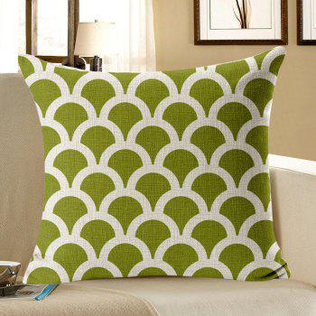 Semicircle Geometric Pattern Linen Pillow Case - GREEN GREEN