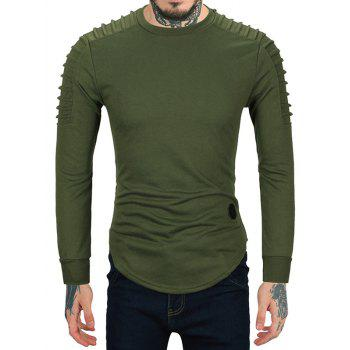 Ruched High Low Hem Long Sleeve T-shirt - M M