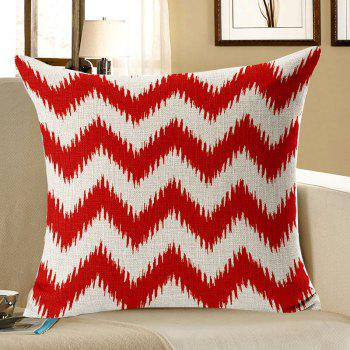 Curve Pattern Linen Pillow Case - RED RED