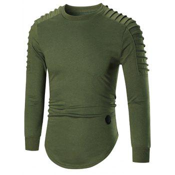 Ruched High Low Hem Long Sleeve T-shirt - GREEN GREEN