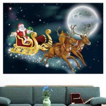 Moonlight Santa Claus Carriage Pattern Removable Wall Sticker - BLACKISH GREEN BLACKISH GREEN
