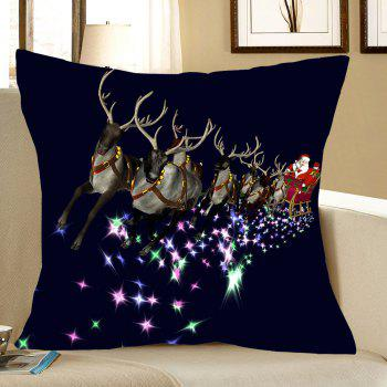 Christmas Carriage Printed Linen Pillow Case - COLORMIX W18 INCH * L18 INCH