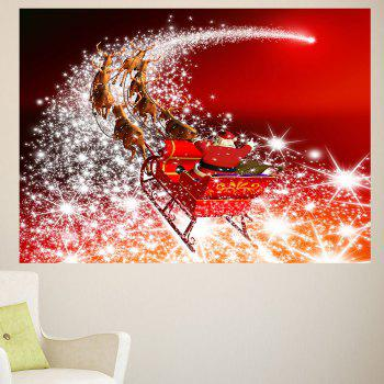 Starlight Road Santa Claus Carriage Printed Wall Art Sticker - 1PC:24*35 INCH( NO FRAME ) 1PC:24*35 INCH( NO FRAME )