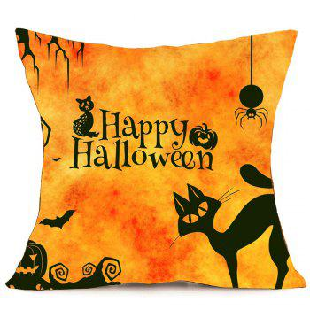 Taie D'oreiller Halloween Imprimé Chat - Orange W18 INCH * L18 INCH