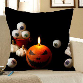 Halloween Pumpkin Eyeball Printed Square Pillow Case - BLACK W18 INCH * L18 INCH