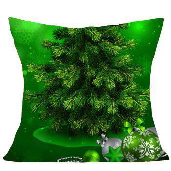 Green Christmas Tree Pattern Square Pillow Case - W18 INCH * L18 INCH W18 INCH * L18 INCH