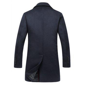Wool Blend Single Breasted Notched Collar Coat - PURPLISH BLUE PURPLISH BLUE