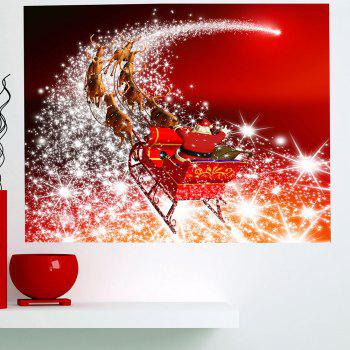 Starlight Road Santa Claus Carriage Printed Wall Art Sticker - 1PC:59*39 INCH( NO FRAME ) 1PC:59*39 INCH( NO FRAME )