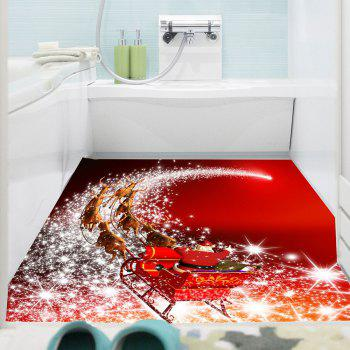 Starlight Road Santa Claus Carriage Printed Wall Art Sticker - RED 1PC:59*39 INCH( NO FRAME )