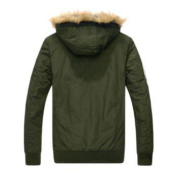 Patch Design Zip Up Detachable Hood Jacket - ARMY GREEN ARMY GREEN