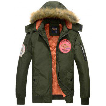 Patch Design Zip Up Detachable Hood Jacket - ARMY GREEN L