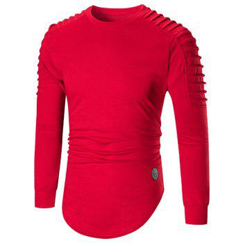 Ruched High Low Hem Long Sleeve T-shirt - RED XL