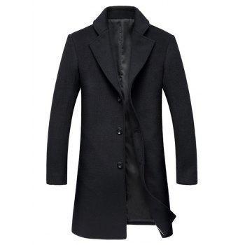Lapel Collar Single Breasted Wool Mix Coat - BLACK BLACK