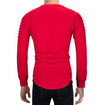 Ruched High Low Hem Long Sleeve T-shirt - RED L