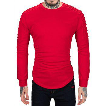Ruched High Low Hem Long Sleeve T-shirt - RED M