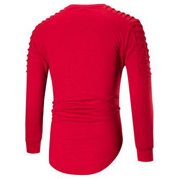 Ruched High Low Hem Long Sleeve T-shirt - RED RED
