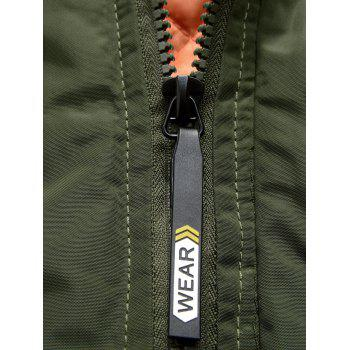 Zipper Up Detachable Hood Patched Jacket - L L