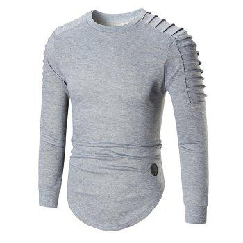 Ruched High Low Hem Long Sleeve T-shirt - GRAY GRAY
