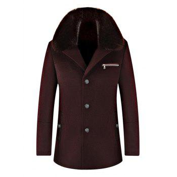 Wool Blend Detachable Collar Single Breasted Coat - WINE RED WINE RED
