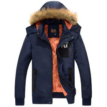 Zipper Up Detachable Hood Patched Jacket - PURPLISH BLUE PURPLISH BLUE