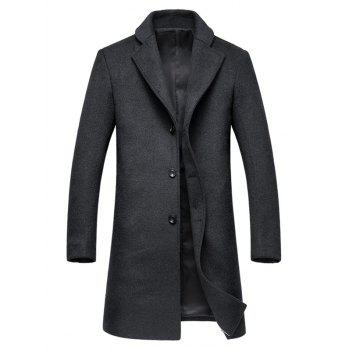 Lapel Collar Single Breasted Wool Mix Coat - DEEP GRAY M