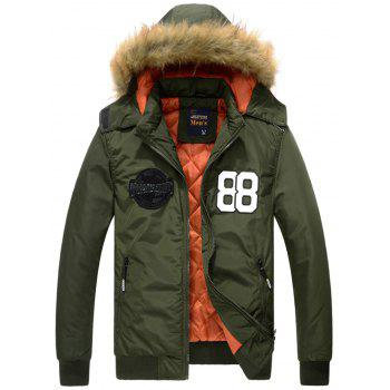 88 Patch Detachable Hood Zip Up Jacket - ARMY GREEN XL
