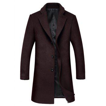 Lapel Collar Single Breasted Wool Mix Coat - WINE RED L