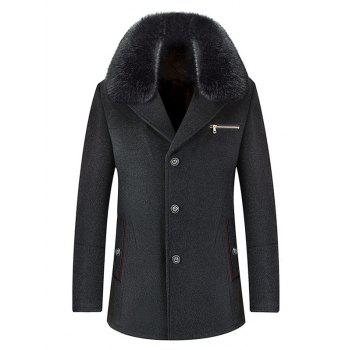 Wool Blend Detachable Collar Single Breasted Coat - DEEP GRAY DEEP GRAY