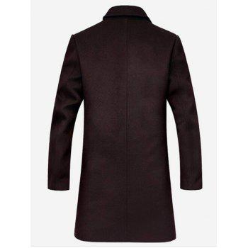 Lapel Collar Single Breasted Wool Mix Coat - L L