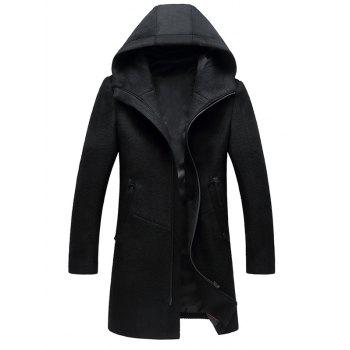 Zipper Up Wool Blend Hooded Coat - BLACK BLACK