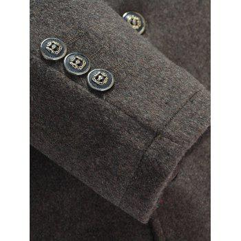 Wool Blend Detachable Collar Single Breasted Coat - COFFEE COFFEE