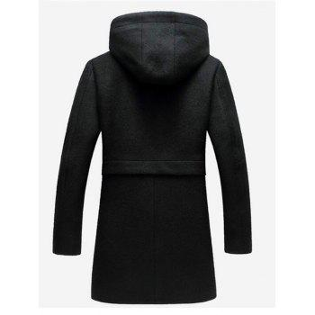 Zipper Up Wool Blend Hooded Coat - XL XL