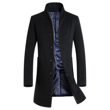 Wool Blend Covered Button Shawl Collar Coat - BLACK XL