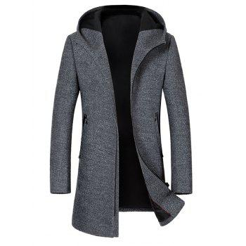 Zipper Up Wool Blend Hooded Coat - GRAY 3XL