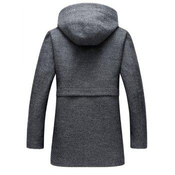 Zipper Up Wool Blend Hooded Coat - 3XL 3XL