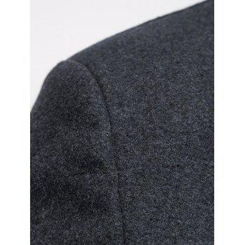 Lapel Collar Hook Button Wool Blend Coat - L L