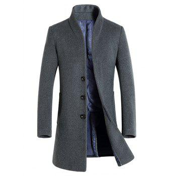 Wool Blend Covered Button Shawl Collar Coat - GRAY 3XL