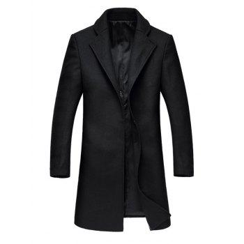 Lapel Collar Hook Button Wool Blend Coat - BLACK L