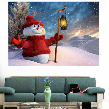 Holding Lamp Snowman Patterned Waterproof Multifunction Wall Sticker - 1PC:24*35 INCH( NO FRAME ) 1PC:24*35 INCH( NO FRAME )