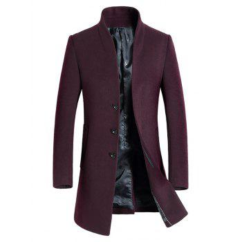Wool Blend Covered Button Shawl Collar Coat - PURPLISH RED PURPLISH RED