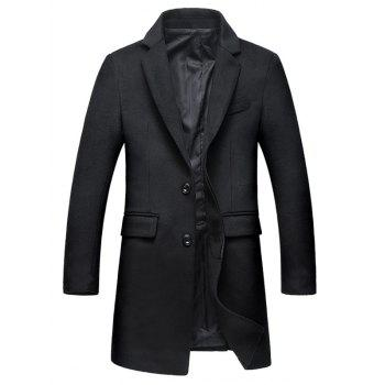 Covered Button Flap Pocket Wool Blend Coat - BLACK BLACK